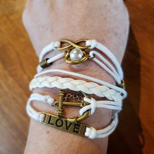 White Leather and Cord Brass Metal Charm Bracelet